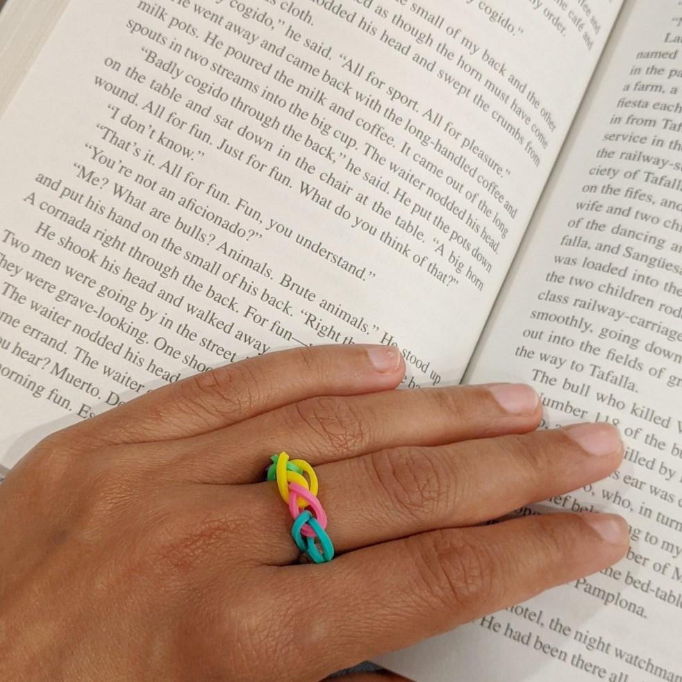 rainbow ring made with loom kit