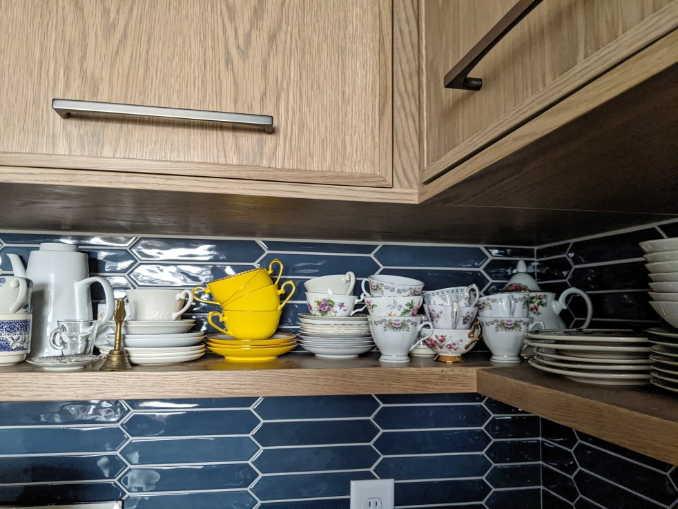 shelf with tea cups