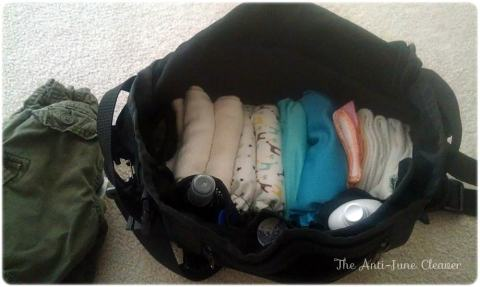 Diaper bag with cloth diapers