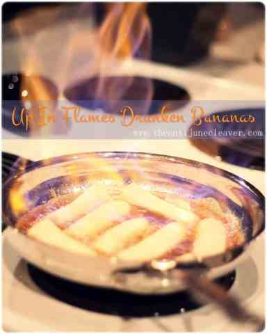 Up in Flames Drunken Bananas Recipe with Spiced Ice Cream