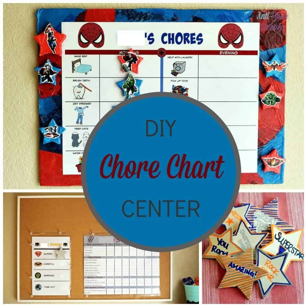 DIY chore chart center plus preschooler superhero and teen zombie chore chart free printable #CleaningUntangled #Ad #Cbias