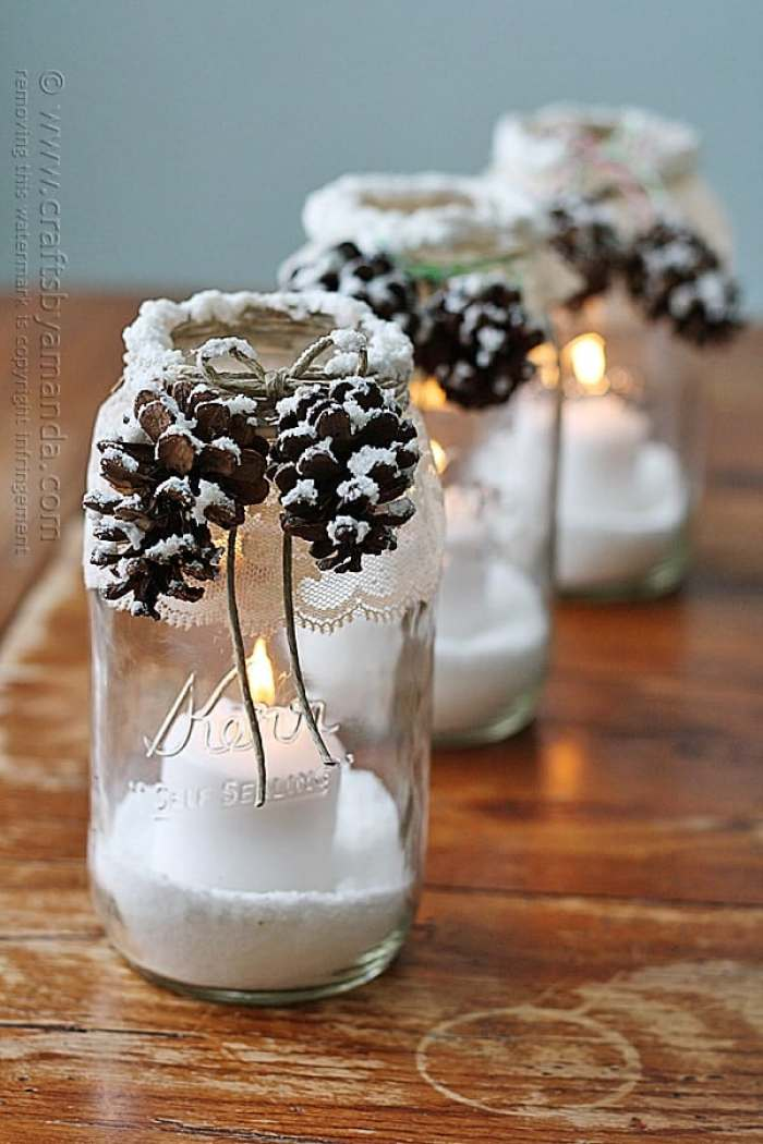 Christmas Pinecone Crafts for Kids and Adults - snowy pinecone candle mason jars #christmas #crafts #diy #pinecones #holidays #xmas #christmascrafts