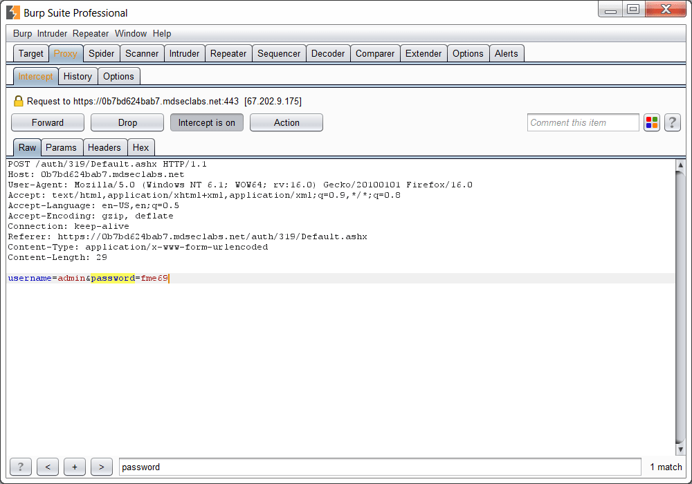 Screenshot of a demo session of BurpSuite.