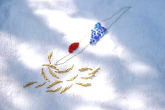 Cannetille, points de noeud et perles sur paillettes