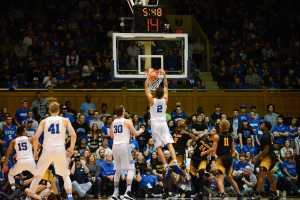 Duke's Chase Jeter goes for a two-handed dunk
