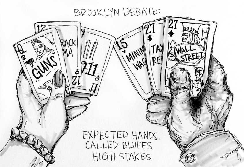 The Brooklyn Debate. Cartoon by Emily Howard.