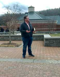 Adam Wolfe preaching on Sanford during the Chalking for Free Speech event. Appalachian State Young Americans for Liberty encouraged passersby to chalk whatever they wanted to protest the university's chalking policy.