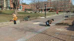Andrew Mullins, a freshman psychology major, chalking at the Appalachian State Young Americans for Liberty Chalking for Free Speech event. The event was held to protest the university's chalking policy.