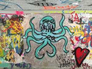 "An octopus found in one of the expression tunnels with the phrase, ""see the sea"" painted over it. Artist unknown."