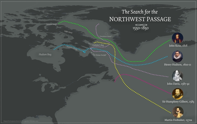A rough map of the routes sailed by Northwest Passage adventurers