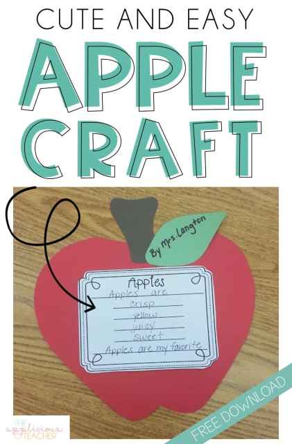 Apple Craft FREEBIE- Cute and easy apple craft poem idea- love this for the month of September!