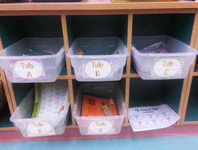 math center tubs- label math buckets so students can keep track of which bucket they've completed.