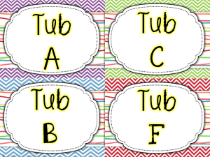 math tub center bin labels