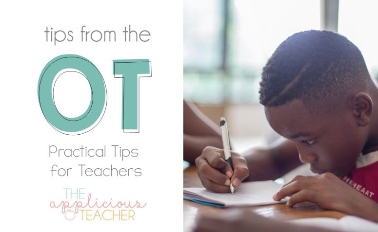 Tips from an Occupational Therapist to help teachers with handwriting issues in the classroom.
