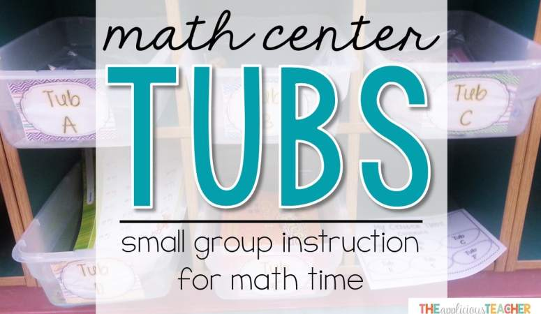 Math Center Tubs- Small Instruction for Math Time