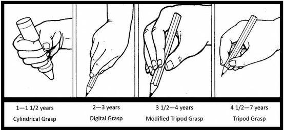 developmentally appropriate pencil grasp by age