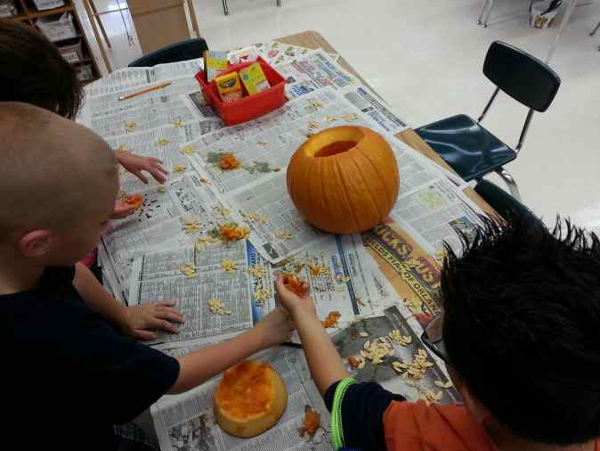 Great way to tie in math! Count the seeds in the pumpkin