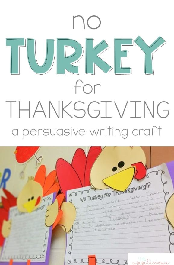 No turkey for Thanksgiving Writing Craft- perfect writing activity for thanksgiving. Students write a persuasive essay explaining convincing people to eat something other than turkey on Thanksgiving Day.