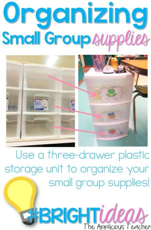 Great tip for organizing your small group supplies! Just fill each drawer with the group materials for the week. No more searchiing around and wasting time!
