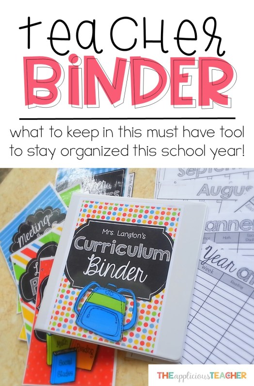 What should be in your Teacher Binder to stay organized this school year. Seriously, this is a must-have tool for every teacher! TheAppliciousTeacher.com