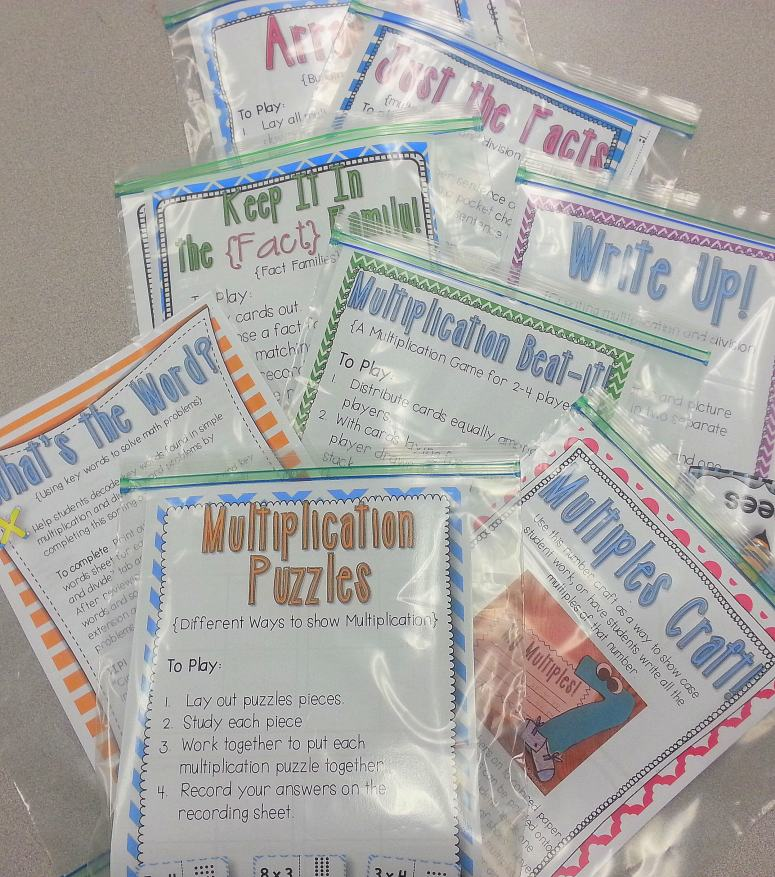 multiplication and division activities for math centers