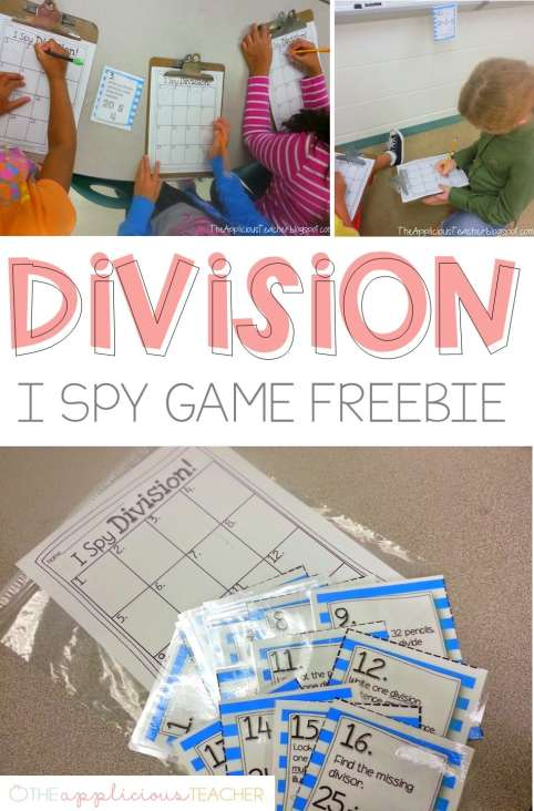 Division activity freebie- Love this I spy game for division-theappliciousteacher.com