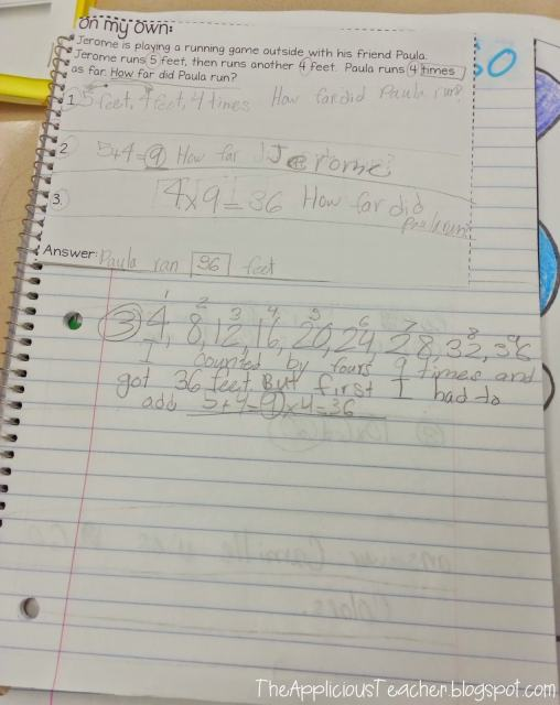 solving multi step problems in interactive student notebook