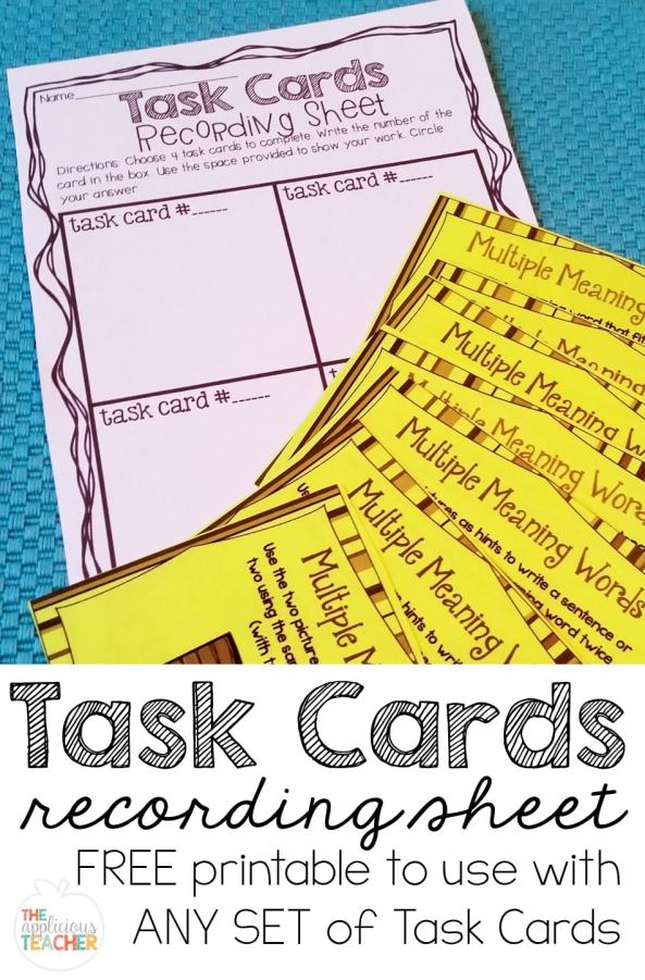 No more having to complete to WHOLE stack of task cards! I love using task cards, but sometimes we only need to do 5 or 6 of the cards in the stack. This little freebie helps solve that problem. Can be used with ANY task card pack and makes differentiation a BREEZE!