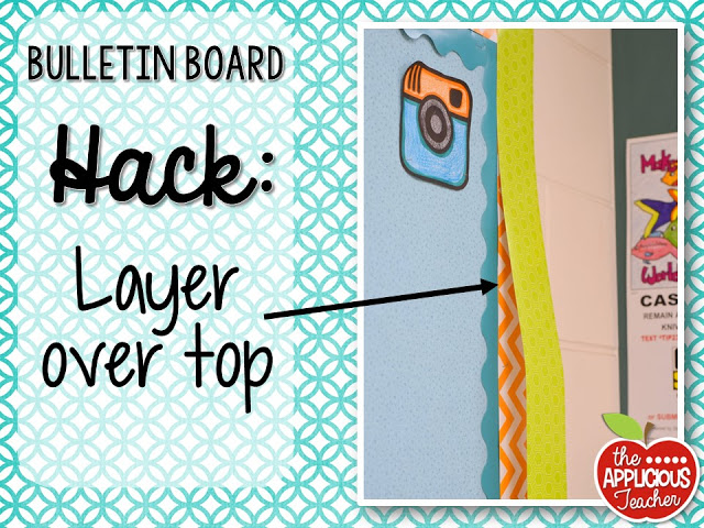 Bulletin board hack: layer your new border on top of the old