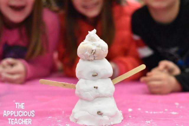 snow ideas, fake snow, snow stem activities, snowflake bentley