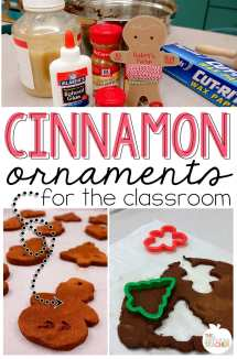 Cinnamon Ornaments for the classroom- love this idea of making those yummy smelling cinnamon ornaments with your class. The recipe she shares is classroom friendly and does not require baking. The kids even decorated the ornaments with puffy paint! Perfect craft for the holidays.