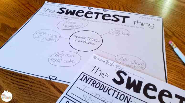 Valentine's Day Writing Activity- bubble map- students write down as many sweet acts they can remember.