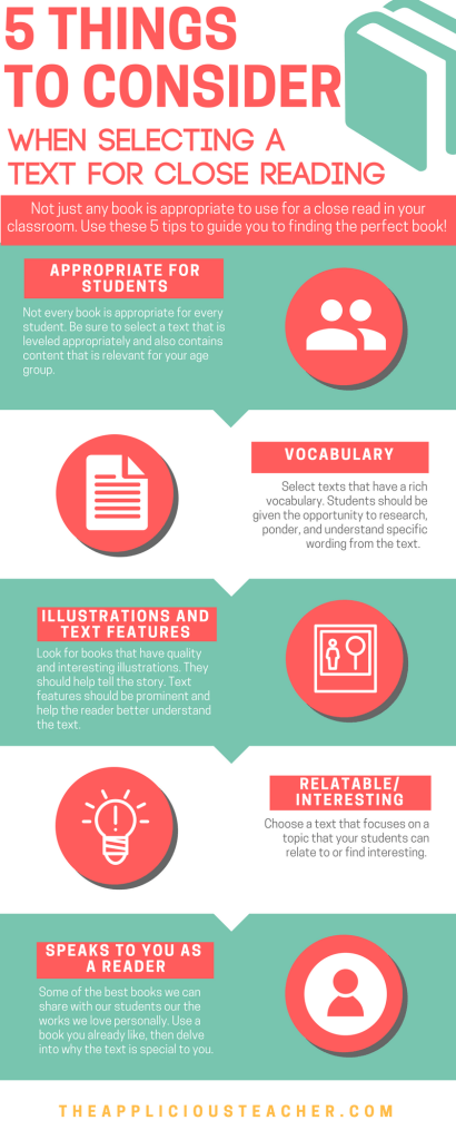 Keep these 5 things in mind when choosing a text for a close reading lesson