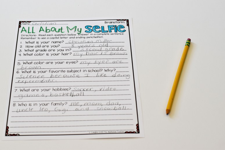 ALl About my selfie brainstorming sheet