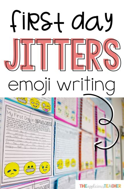 """Great back to school writing activity for the first day! After reading the book, """"First Day Jitters"""", students write about how they felt on the first day of school using emojis!"""