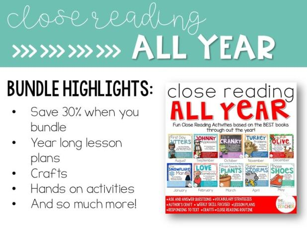 Close Reading All Year activities. Best books, lesson plans, and activites for close reading in your classroom.