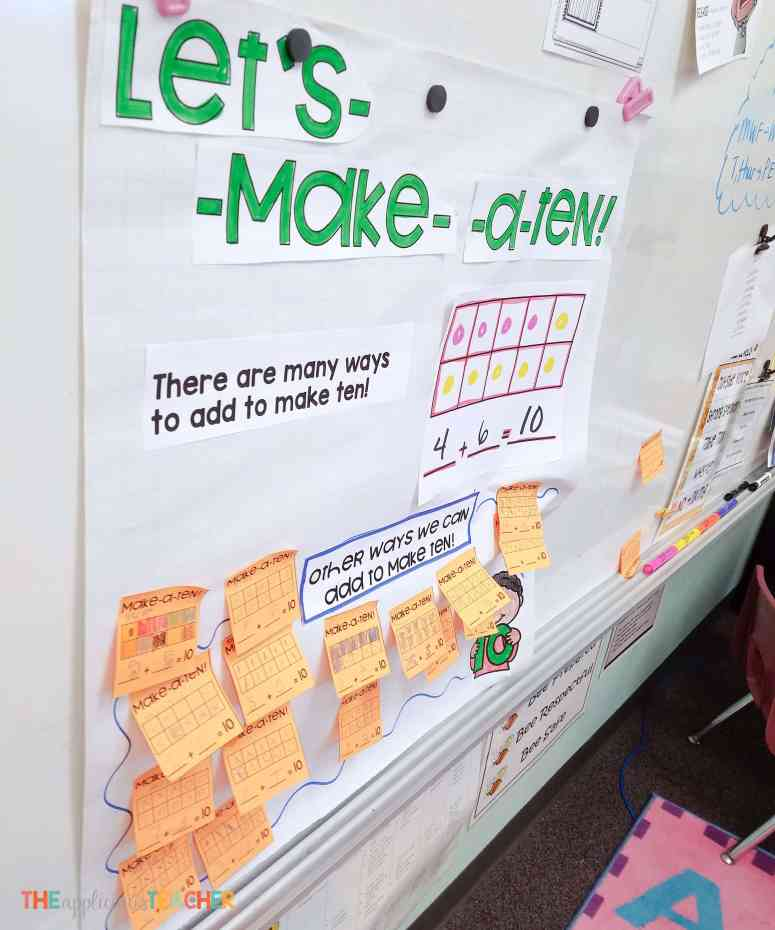 Adding to make a ten interactive anchor chart- perfect way for students to show they know how to use a strategy WITHOUT a worksheet.