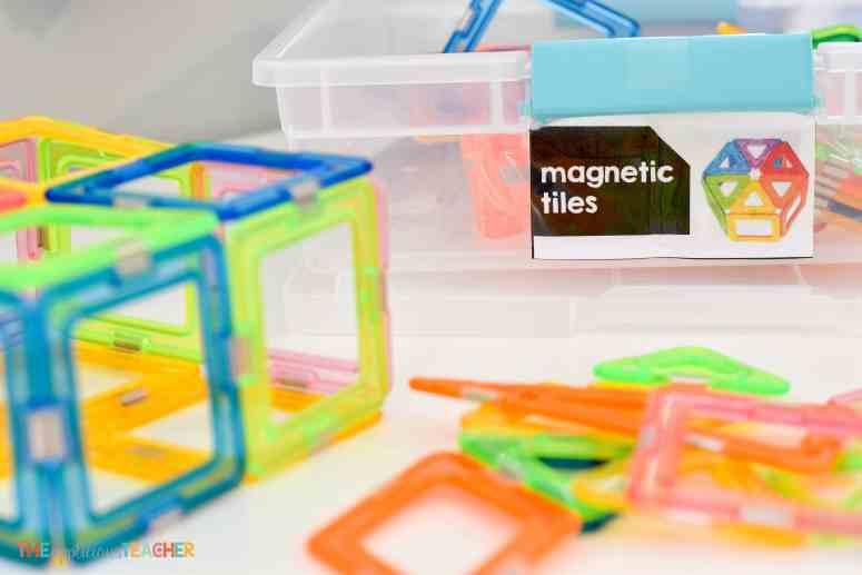 Classroom STEM Lab materials- magnetic tiles TheAppliciousTeacher.com