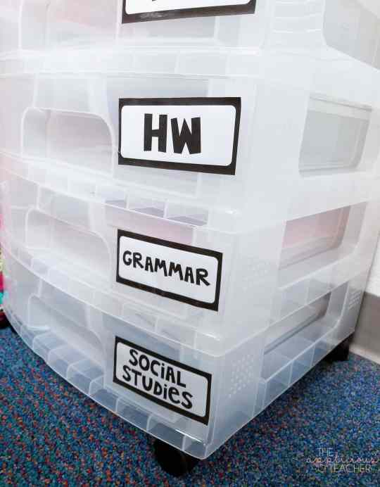 label your weekly drawers for each day of the week, then label any extra drawers with subjects areas