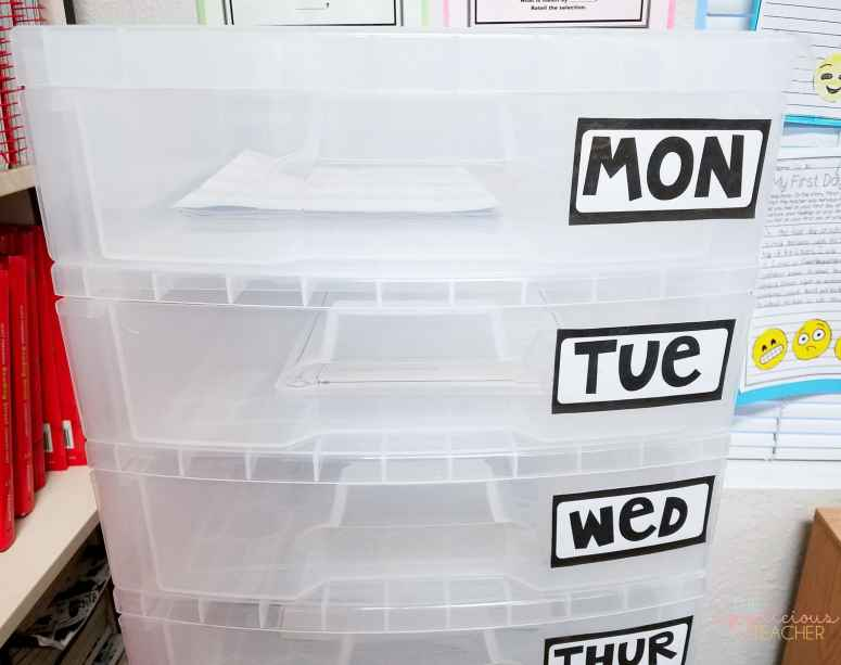 label each drawer for a day of the week