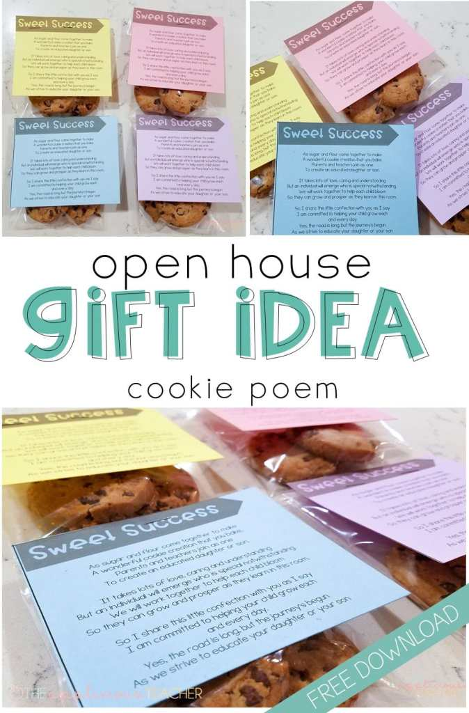 Cute and easy gift idea for Open House- cookie poem is a great way to let parents know you're in this together. Includes free printable!