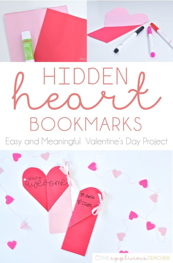 Easy Valentine S Day Classroom Craft Hidden Heart Bookmark