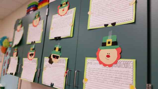 st patrick's day writing bulletin board