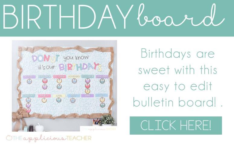 donut themed birthday bulletin board