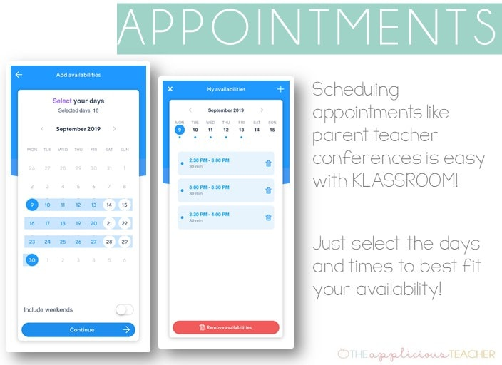 setting up appointments is easy in Klassroom