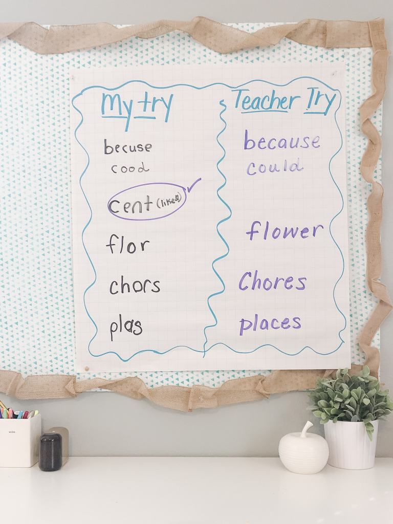 i try teacher try chart for spelling