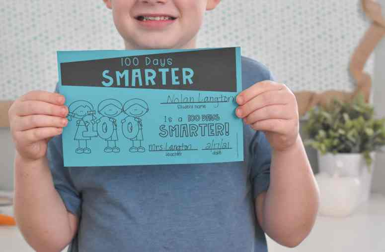 100 Days Smarter certificate for the 100th day of school