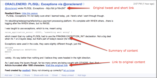 Readtwit's feed items in my Reader