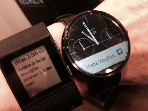 Relative glance: Fitbit Surge versus Motorola Moto 360