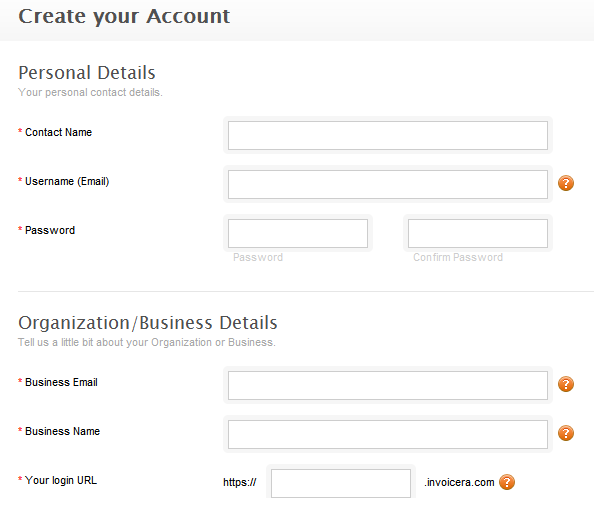 create invoicera account